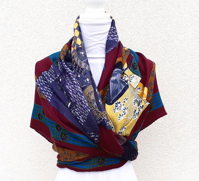 Hermès Shawl Scarf Kimonos et Inros Annie Faivre Cashmere Silk 54 inches For Sale 13