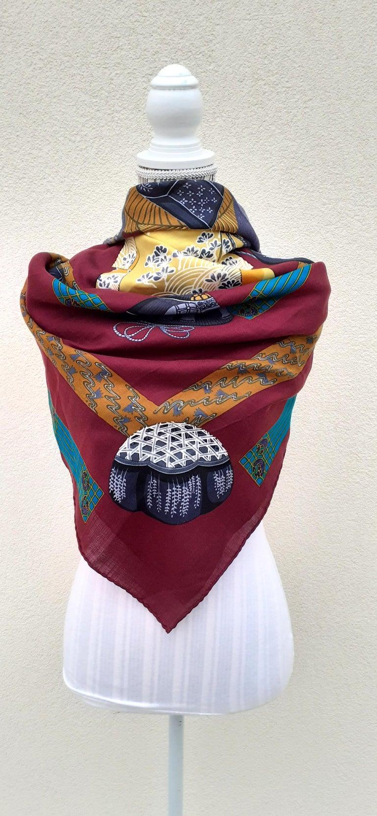 Hermès Shawl Scarf Kimonos et Inros Annie Faivre Cashmere Silk 54 inches For Sale 14
