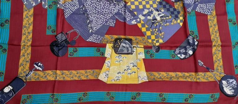Brown Hermès Shawl Scarf Kimonos et Inros Annie Faivre Cashmere Silk 54 inches For Sale
