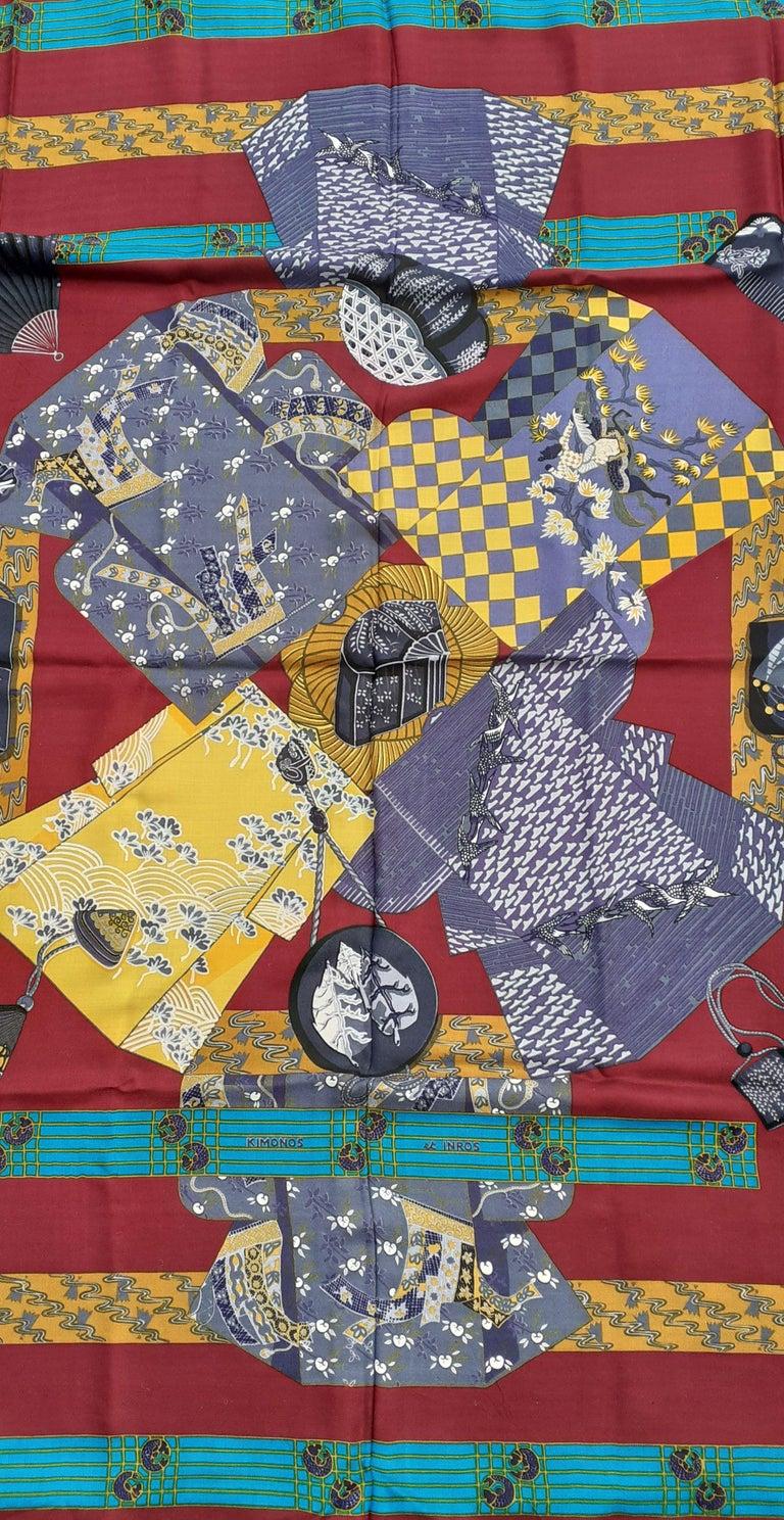 Hermès Shawl Scarf Kimonos et Inros Annie Faivre Cashmere Silk 54 inches In Excellent Condition For Sale In ., FR