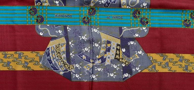 Hermès Shawl Scarf Kimonos et Inros Annie Faivre Cashmere Silk 54 inches For Sale 1