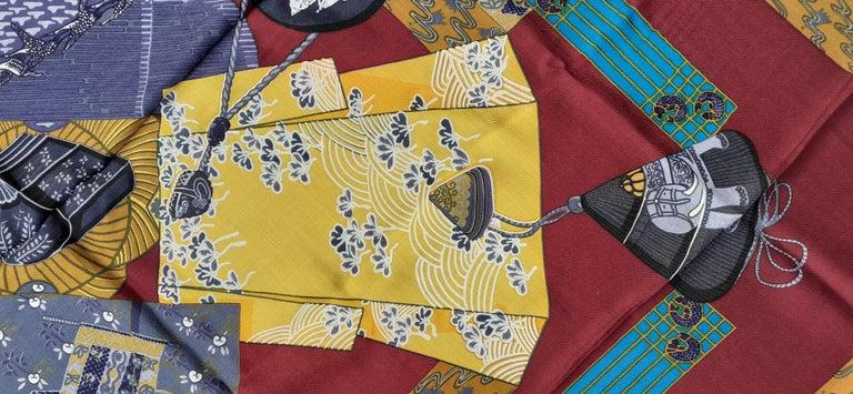 Hermès Shawl Scarf Kimonos et Inros Annie Faivre Cashmere Silk 54 inches For Sale 2