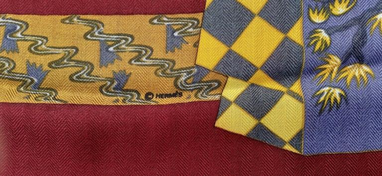 Hermès Shawl Scarf Kimonos et Inros Annie Faivre Cashmere Silk 54 inches For Sale 3