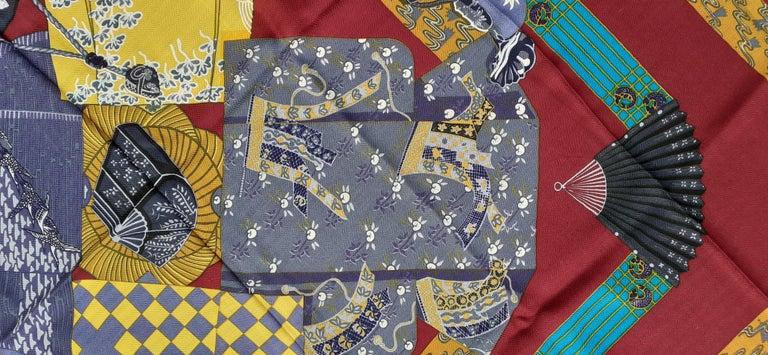 Hermès Shawl Scarf Kimonos et Inros Annie Faivre Cashmere Silk 54 inches For Sale 4
