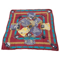 Hermès Shawl Scarf Kimonos et Inros Annie Faivre Cashmere Silk 54 inches