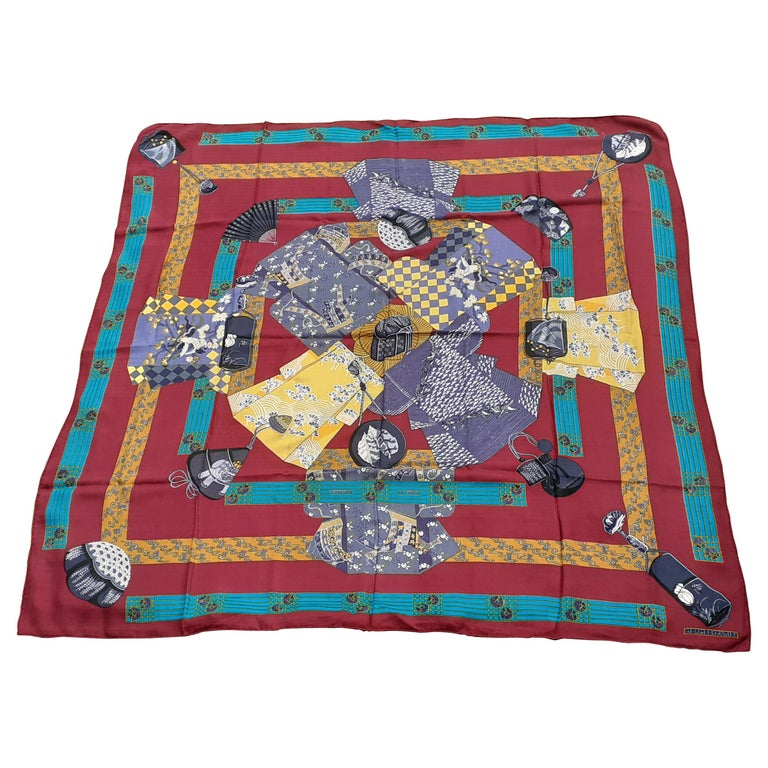 Hermès Shawl Scarf Kimonos et Inros Annie Faivre Cashmere Silk 54 inches For Sale