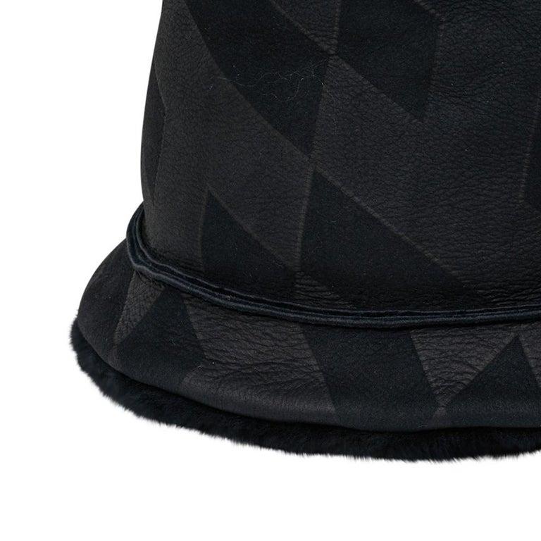 Black Hermes Shearling Lambskin Bucket Hat 59 New For Sale
