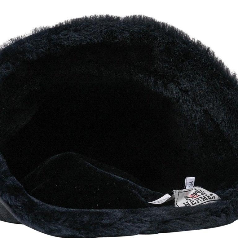 Hermes Shearling Lambskin Bucket Hat 59 New For Sale 1