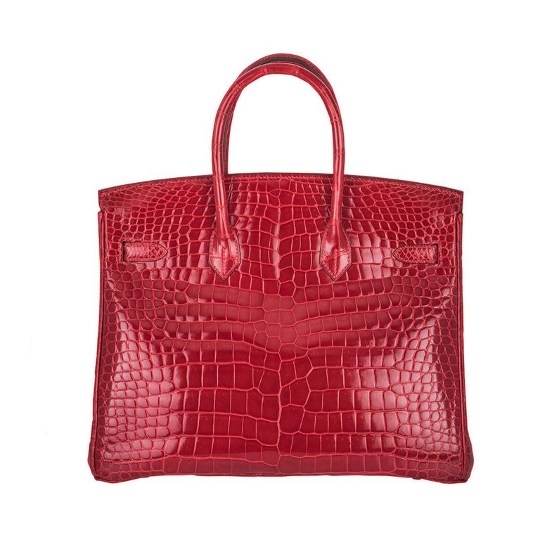 224c12b00a Women s Hermès Shiny Braise Porosus Crocodile DWGHW 35cm Birkin Bag For Sale