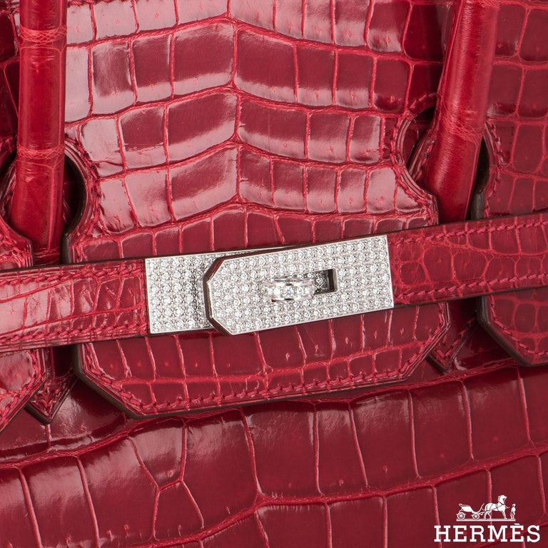 e511674ded Hermès Shiny Braise Porosus Crocodile DWGHW 35cm Birkin Bag For Sale ...