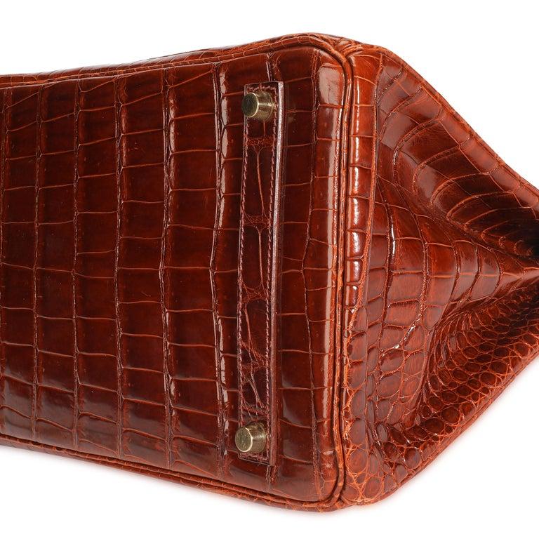 Brown Hermès Shiny Miel Porosus Crocodile Birkin 35 GHW
