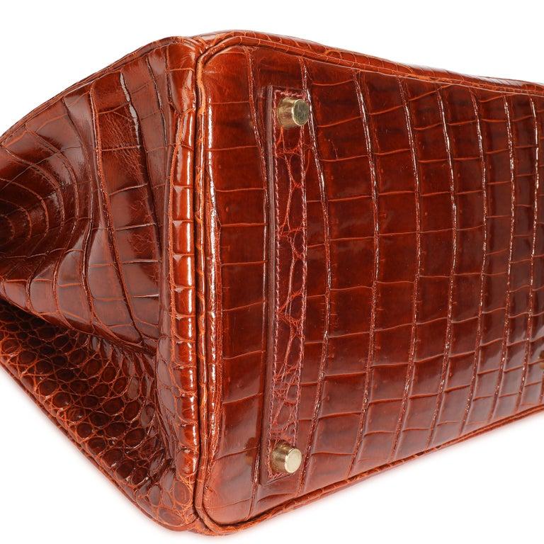 Hermès Shiny Miel Porosus Crocodile Birkin 35 GHW In Excellent Condition In New York, NY