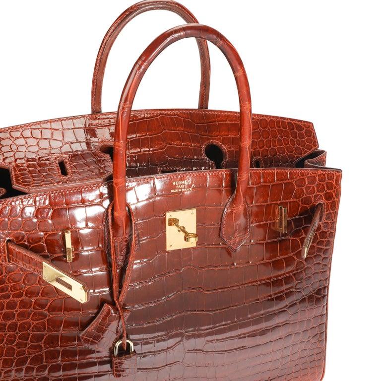 Hermès Shiny Miel Porosus Crocodile Birkin 35 GHW 2