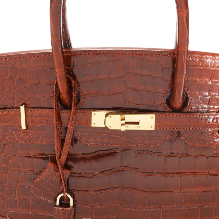 Hermès Shiny Miel Porosus Crocodile Birkin 35 GHW 3