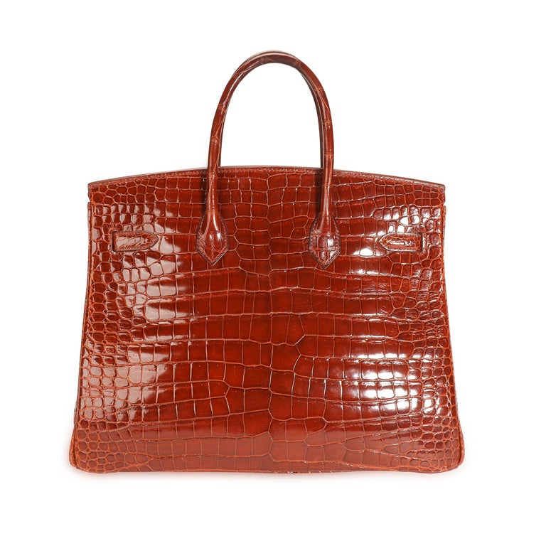 Hermès Shiny Miel Porosus Crocodile Birkin 35 GHW 4