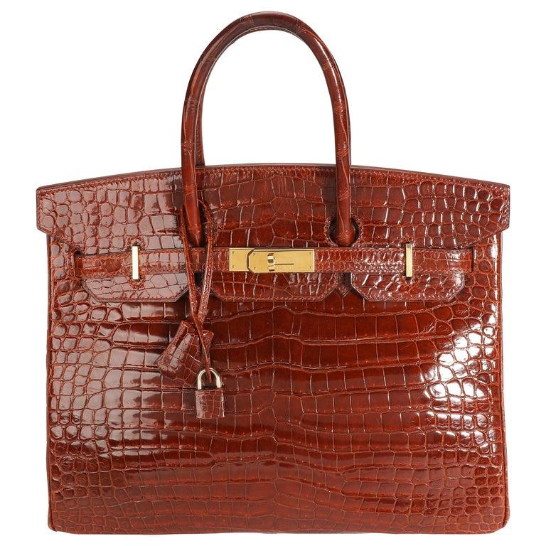 Hermès Shiny Miel Porosus Crocodile Birkin 35 GHW