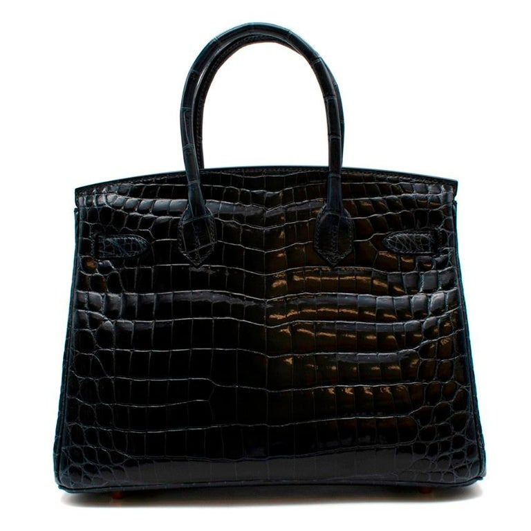 Hermes Shiny Niloticus Crocodile Birkin 30 in Vert Rousseau GHW In New Condition For Sale In London, GB