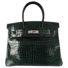 Hermès Shiny Vert Fonce Porosus Crocodile Birkin 30 PHW