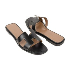 Hermes Oran Sandal Black Calfskin White Top Stitch Flat Shoes 36.5 / 6.5 New