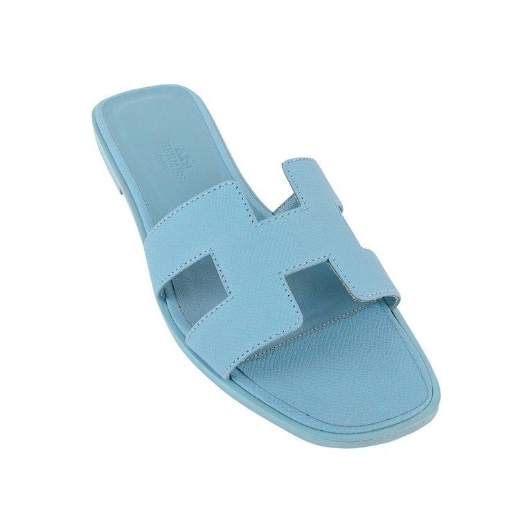 Blue Hermes Shoes Flat Oran Sandal Bleu Littoral 37 / 7 New