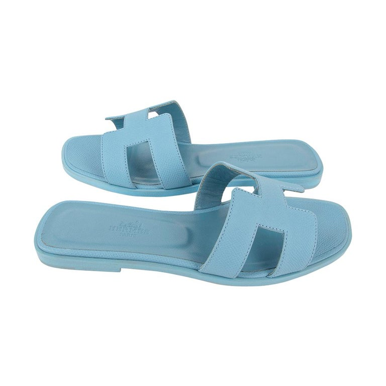 Hermes Shoes Flat Oran Sandal Bleu Littoral 37 / 7 New In New Condition In Miami, FL