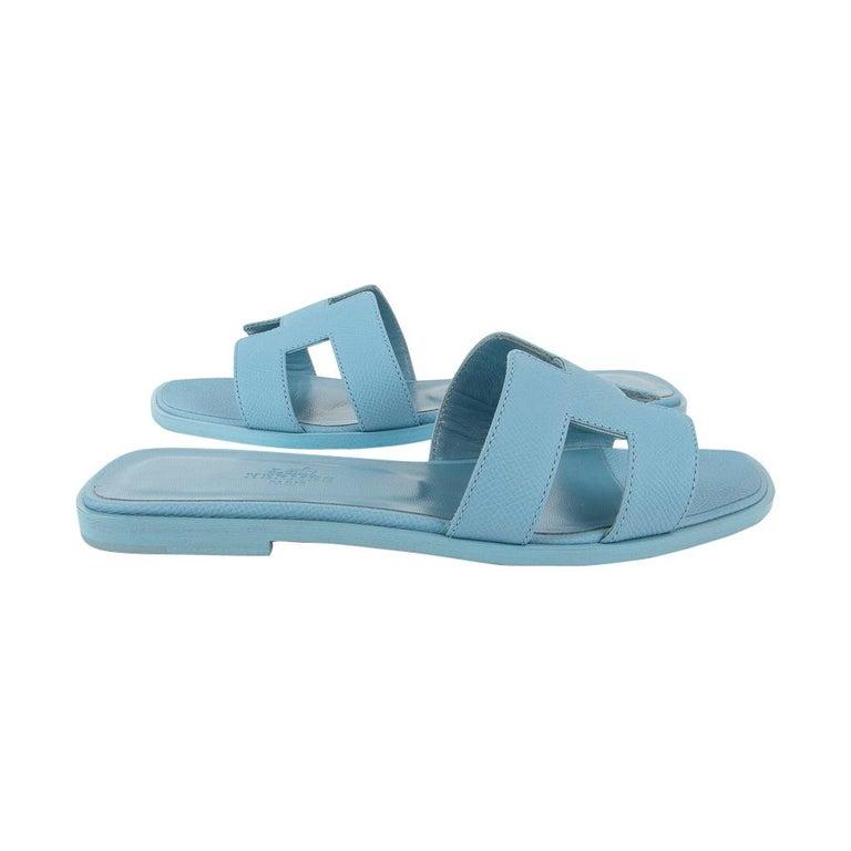 Women's Hermes Shoes Flat Oran Sandal Bleu Littoral 37 / 7 New