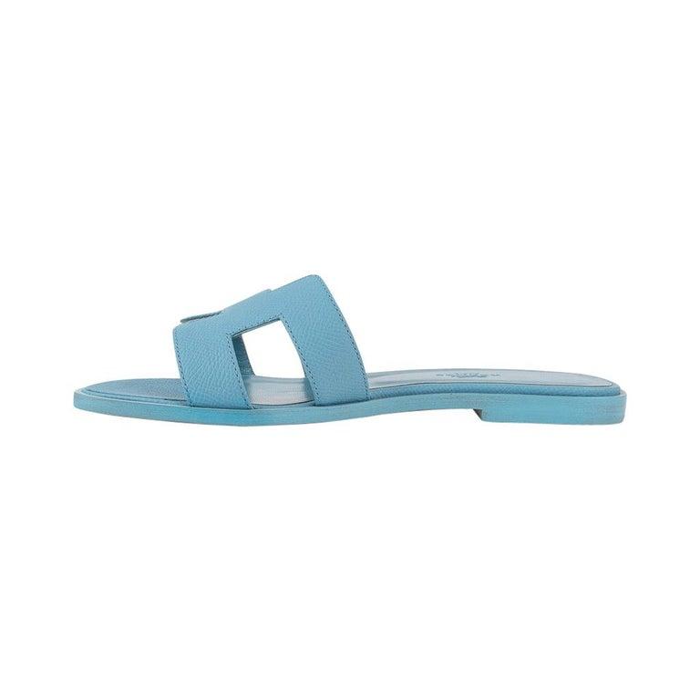 Hermes Shoes Flat Oran Sandal Bleu Littoral 37 / 7 New 2
