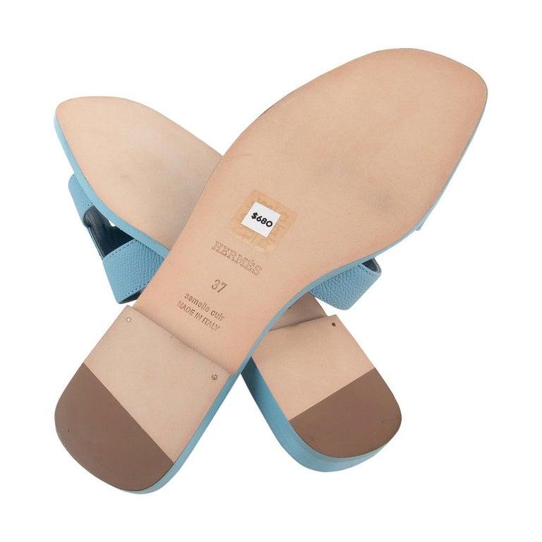 Hermes Shoes Flat Oran Sandal Bleu Littoral 37 / 7 New 3