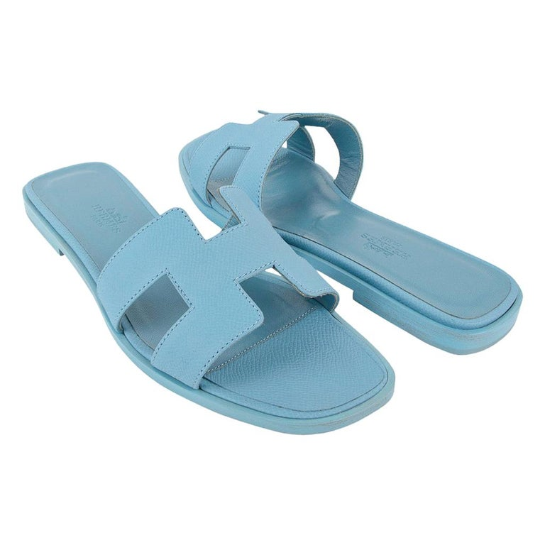 Hermes Shoes Flat Oran Sandal Bleu Littoral 37 / 7 New