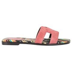 Hermes Shoes Flat Oran Sandal Rose de Venise Suede Brides de Gala Toile 39.5