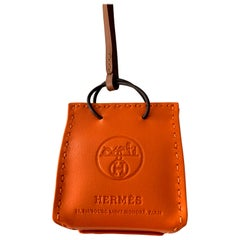 Hermes Shopping Bag Orange Leather Charm