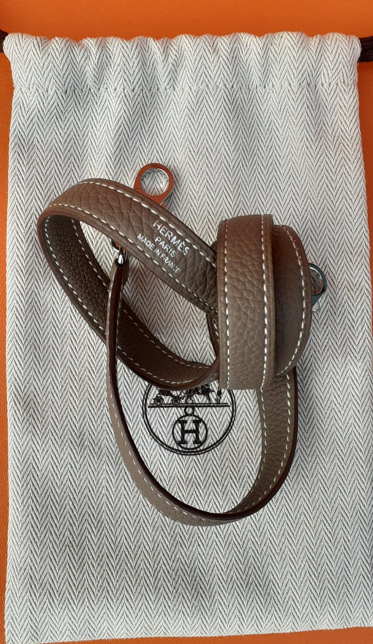 Hermès Shoulder Strap Etoupe Togo Leather Palladium Hardware  For Sale 4