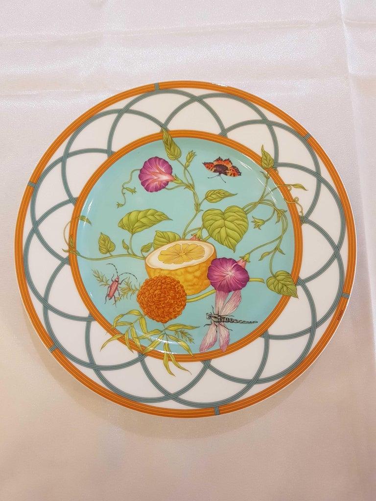 Hermes Siesta Island Porcelain Set of Two Dessert Plates, Modern