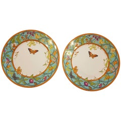 Hermès Siesta Island Porcelain Set of Two Dinner Plates, Modern