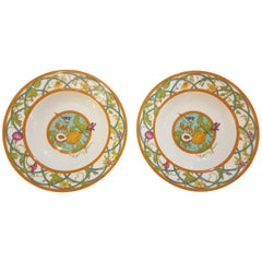 Hermès Siesta Island Porcelain Set of Two Soup Plates, Modern