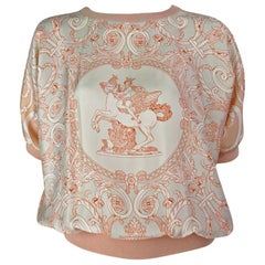 Hermes Silk and Cashmere Coral Printed Top