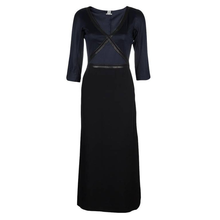 Black Timeless Hermes Silk and Leather Maxi Dress For Sale