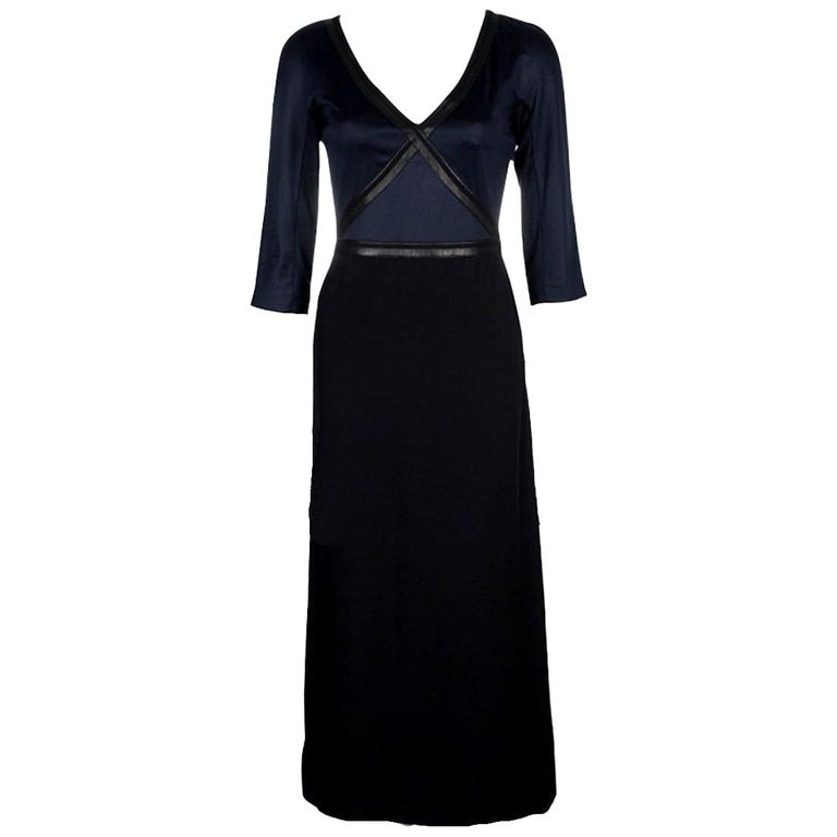 Timeless Hermes Silk and Leather Maxi Dress For Sale
