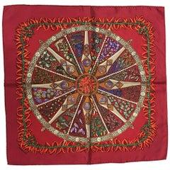 Hermes Silk Aux Pays des Epices Red Silk Pocket Square