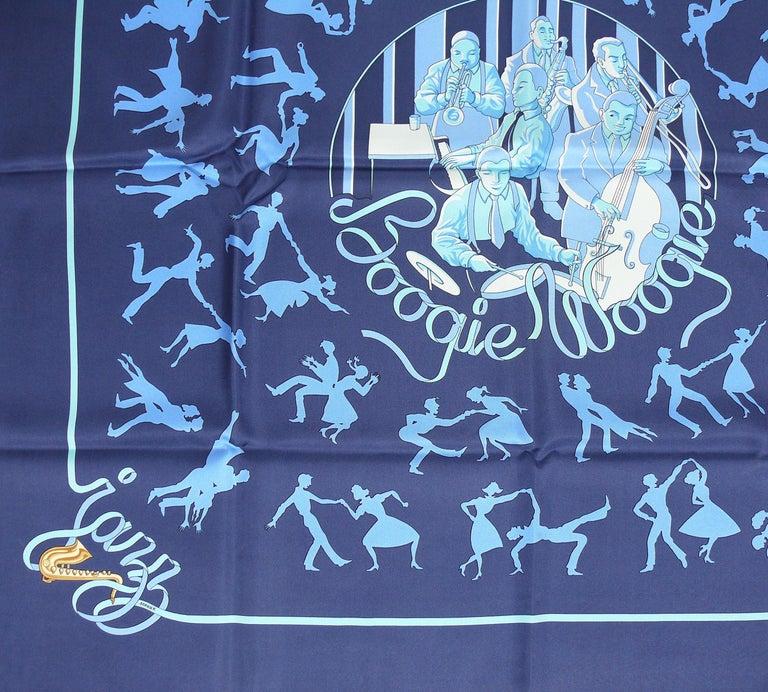 Purple Hermes Silk Carre Scarf Boogie Woogie by Sophie Koechlin For Sale