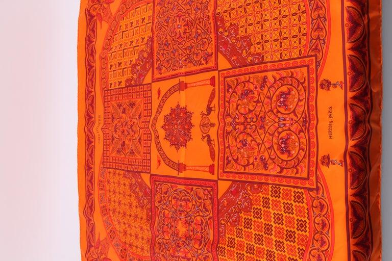 Orange   Hermes Silk Carre Scarf 'Ciels Byzantins' - orange  For Sale