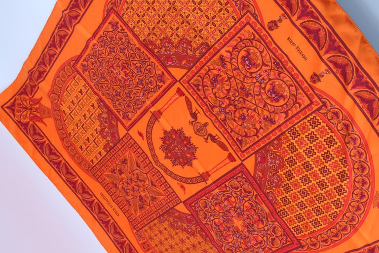 Hermes Silk Carre Scarf 'Ciels Byzantins' - orange  In Excellent Condition For Sale In Baarn, NL