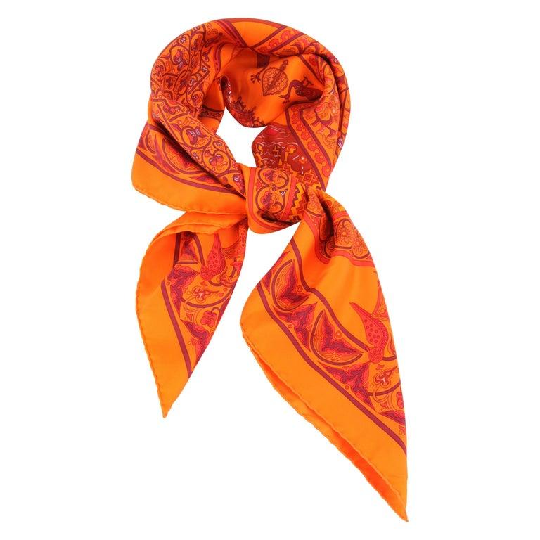 Hermes Silk Carre Scarf 'Ciels Byzantins' - orange  For Sale