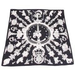 Hermes Silk Carre Scarf 'Serio Ludere' - black & white
