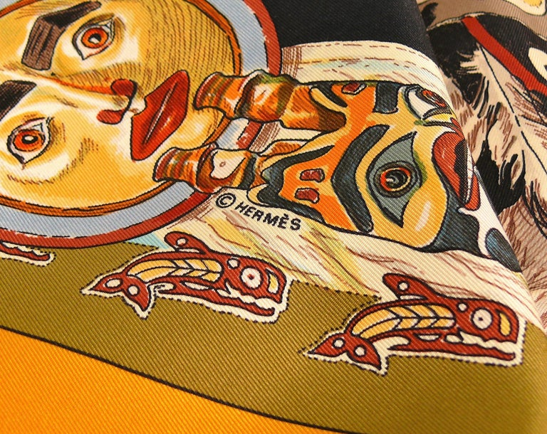 Hermes Silk Carre Scarf Tsitsika by Kermit Oliver For Sale 3