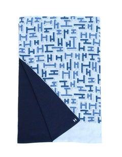 Hermes Silk/Cashmere Blue Printed Aller-Retour H Dedale Muffler Scarf