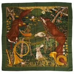Hermes Silk Chasse Au Bois Green Scarf