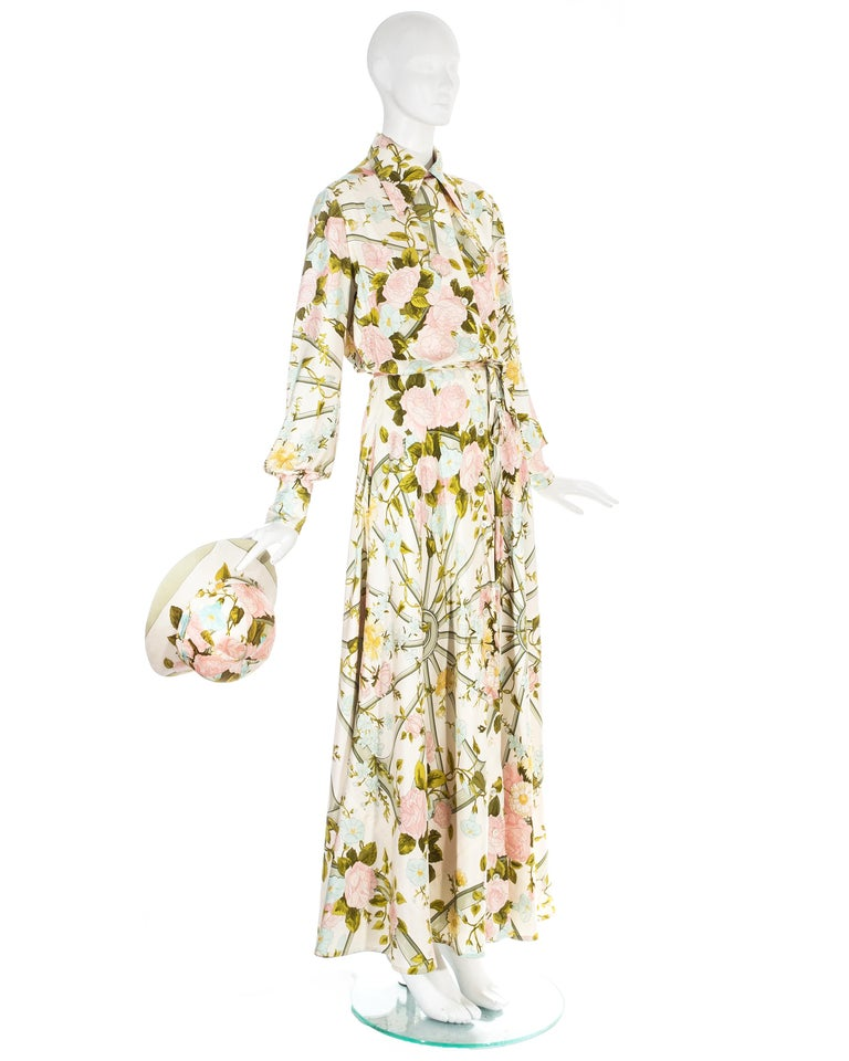 Beige Hermes silk floral maxi shirt dress with matching sunhat, c. 1970s For Sale