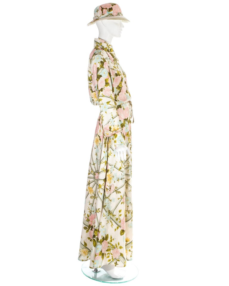 Hermes silk floral maxi shirt dress with matching sunhat, c. 1970s For Sale 1