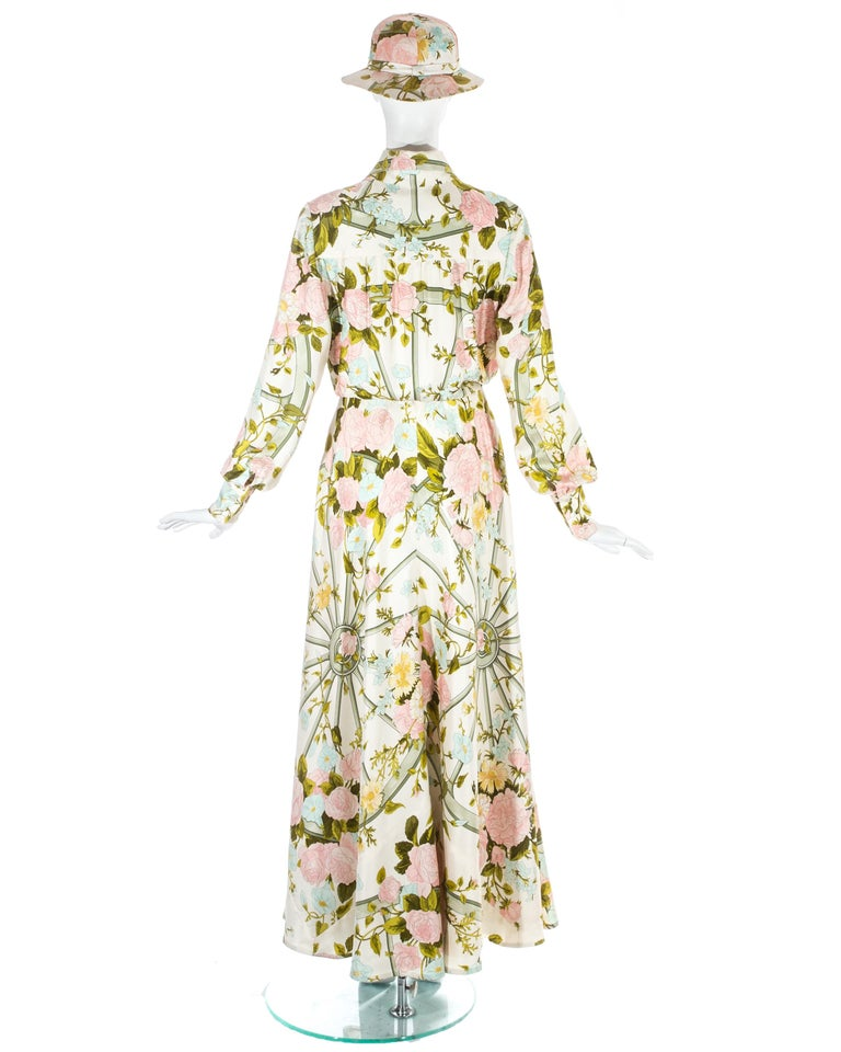 Hermes silk floral maxi shirt dress with matching sunhat, c. 1970s For Sale 2